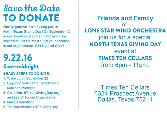 north texas giving day, support the lone star wind orchestra